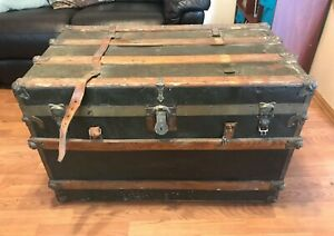 Antique Eagle Lock Company Baggage Travel Trunk Cripple Creek Colorado