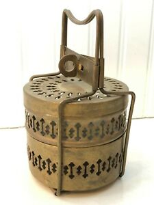 Antique Brass 2 Tier Tiffin Food Lunch Box Carrier Dabba India