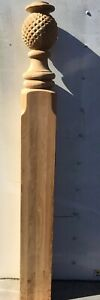Solid Mahogany Wood Salvage Chunky Newel Post Column 49 Carved Pineapple Top