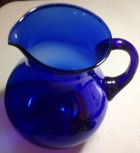 Vintage Hand Blown Large Cobalt Blue Glass Pitcher Excellent Condition