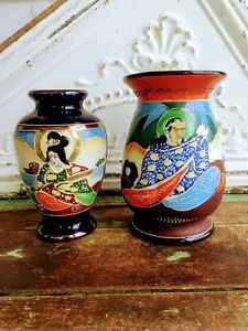 Vintage Antique Lot 2 Vases Moriage Japan Gold Gilt Hand Painted People