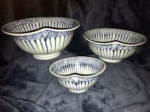 Atq Chinese Qing Kangxi Set Of 3 Blue White Porcelain Ceramic Tea Bowls Signed