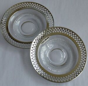 Webster Sterling Silver Glass 2 4 3 8 Inch Saucers For Cups Or Goblets