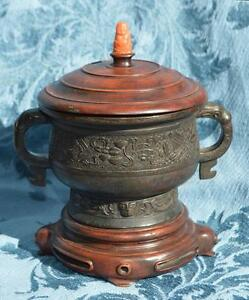 Marked Marked Chinese Bronze Incense Burner Censer Lid Coral Buddha