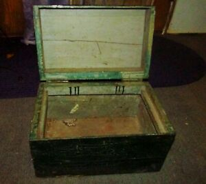 Old Wooden Box Crazing Green Paint