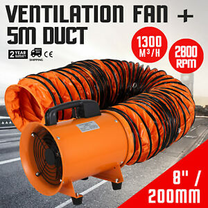 8 Extractor Fan Blower Portable W 5m Duct Hose Exhaust Industrial Ventilation