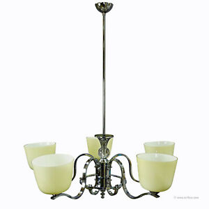 Antique Bauhaus Style Chandelier With Five Opaline Glass Shades
