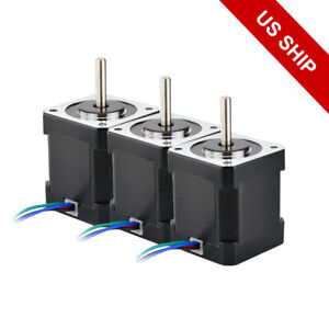 3pcs Stepper Motor Nema 17 84oz in W 1m Cable Connector For Diy 3d Printer
