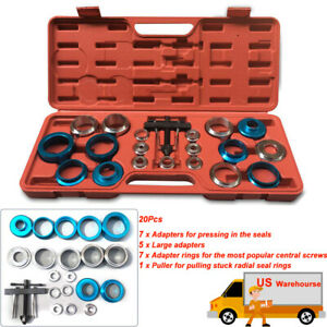 20pc Crank Oil Seal Remove Install Tools Kits 21 5 64mm Dia Screw Type Adapter