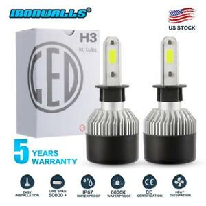 Pair S2 H3 1320w 198000lm Led Headlight Conversion Kit Bulbs 6000k White