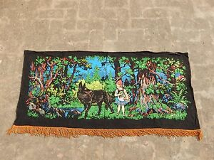 Vintage French Hand Painted Beautiful Scene Tapestry 63x132cm A981