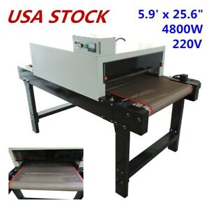 Us 220v 4800w T shirt Conveyor Tunnel Dryer 25 6 X 39 Belt For Screen Printing