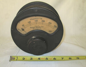 Large Industrial Antique Vtg Roller smith Co Kilowatts Panel Meter Steampunk