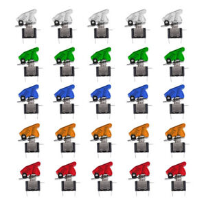 25pcs 12v 20a Led Light Rocker Toggle Switch W Cover Spst On off Car Truck