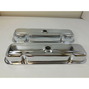 Rpc Engine Valve Cover Set R9461 Short Chrome Steel For Pontiac 326 455 V8