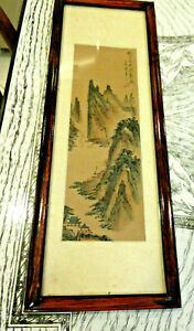 Vintage Silk Chinese Watercolor Painting Mountian Scene Signed Sealed