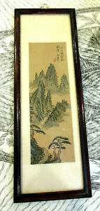 Vintage Chinese Watercolor Silk Painting Mountain Scene Signed Sealed
