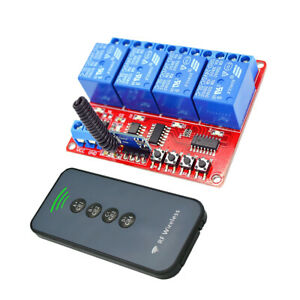 24v 4ch Relay Rf Switch 30m Remote Control Transmitter Receiver 433mhz