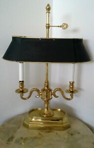 Vintage French Empire Candlestick Bouillotte Brass Four Bulb Lamp Black Shade
