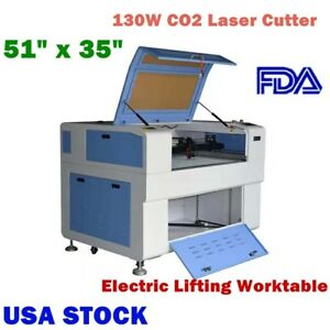 Us Stock 51 X 35 130w Co2 Laser Cutter With Electric Lifting Worktable Fda
