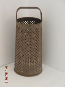 Lg Early Antique Primitive Round Tin Grater