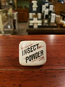 Insect Powder Antique Porcelain Apothecary Drug Cabinet Knob Drawer Pull