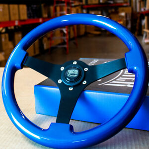 14 Blue Steering Wheel With Brushed Black Spokes And Push Horn Button