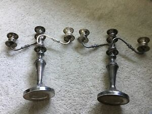 Vintage Pair Of Silver Over Copper Candelabra Candle Holders