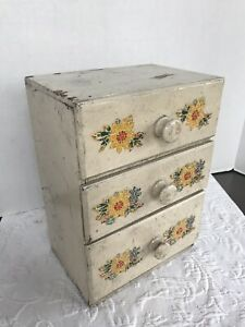 Vintage Drawers Wooden Apothecary Primitive Chest Storage Cabinet