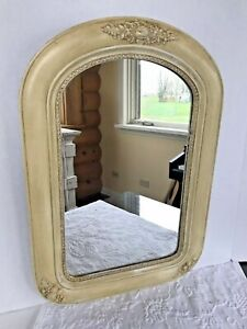 Antique Vintage French Country Mirror Wall Hanging Wood Frame Bath Vanity Decor