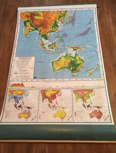 Vintage Roll Down A J Nystrom Co School Map Australia Southeast Asia