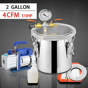2gallon Vacuum Chamber And 4cfm Single Stage Pump Degassing Silicone Kit Silver