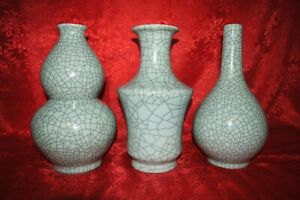 Three Chinese Celadon Crackle Vases