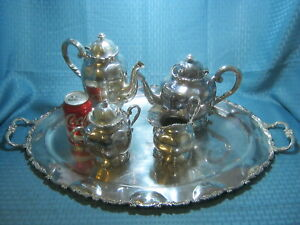 Vintage Mexico Silver Plated Tea Set Huge Tray
