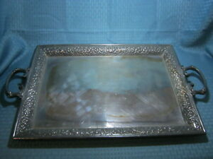 X Large Antique Derby Quadruple Silver Plated Tray Floral Border 25