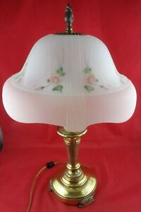 Victorian Lovely Large Vintage Brass Lamp With Frosted Glass Shade 3 Bulbs