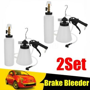 2set Pneumatic 1l Brake Fluid Oil Bleeder Car Air Extractor Bleeding Vacuum Tool