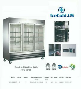 Reach in Glass 3 Door Commercial Refrigerator Cfd 3rrg e hc Stainless Cooler