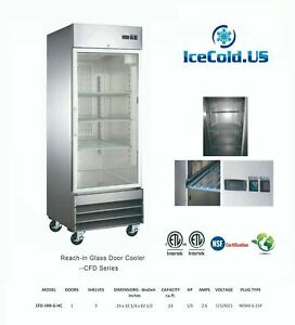 Reach in Glass Door Commercial Refrigerator Cfd 1rrg e hc Stainless Cooler