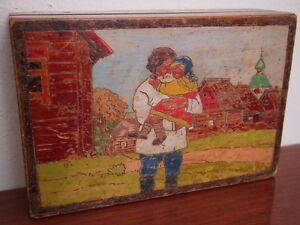Antique Russian Carved Painted Wooden Folk Art Box Man Carrying Young Girl Child