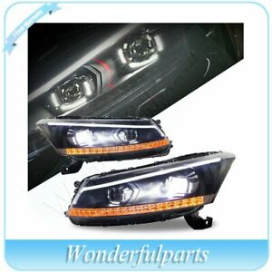 Led Headlight Assembly Front Projector Lamp Drl Dual Beam For 08 12 Honda Accord