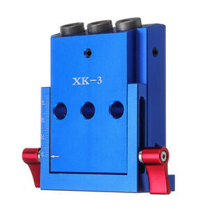 Xk 3 Pocket Hole Jig Kit 3 Holes Woodworking Drill Guide Aluminium Oblique Drill