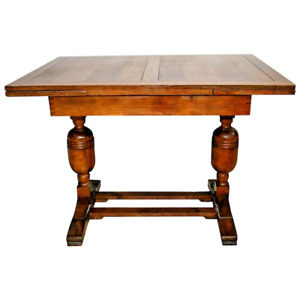 Rare English Pub Table Solid Tiger Oak Drop Under Pull Out Expanding Side Leafs