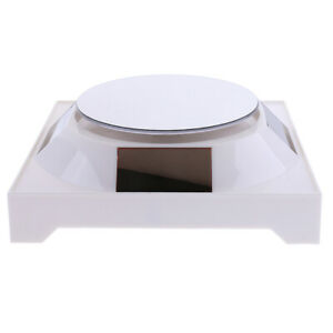 Solar battery Jeweley Phone Ring Display Stand 360 Rotating Turntable White