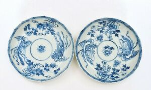 2 18th Century Chinese Blue White Porcelain Dish Plate Saucer Phoenix