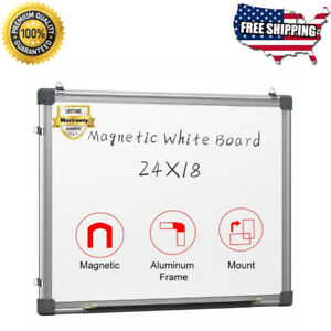 Portable Magnetic Whiteboard 24 X 18 W Metal Hooks Aluminum Frame Durable New