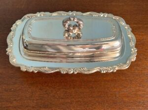 Antique Silver Butter Dish Wma Rogers With Glass Insert Ornate