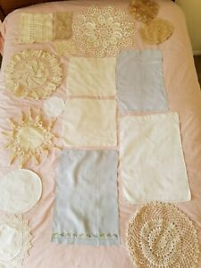 Vintage Lot 17 Hand Crocheted Doilies And Linens Diff Shapes Wedding Boho Chic