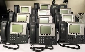 Lot Of 10 Cisco Phone Ip 7941g 9 Ip 7962g W 7915 Expansion Modules Stands