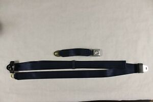 Closeout 3 Point Retractable Seat Belt With Chrome Button Navy Blue